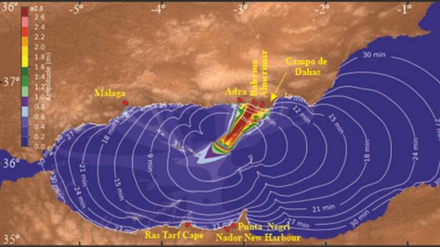 Modèle de propagation du tsunami et zones côtières de la mer d'Alboran qui seraient affectées, selon l'étude du CSIC