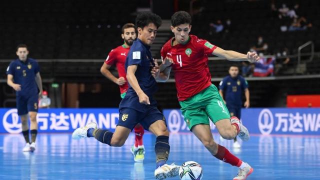 Séquence du match Maroc-Thaïlande en Coupe du Monde de futsal 2021.