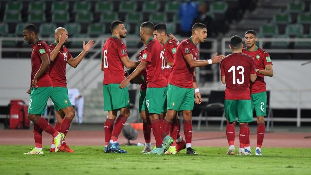 Joie des Lions de l'Atlas contre la Guinée-Bissau, mercredi 6 octobre 2021.