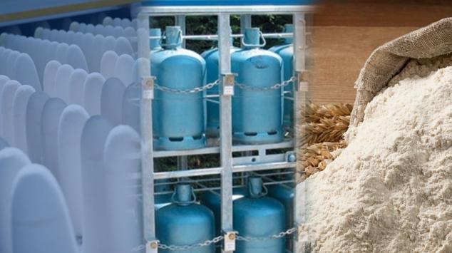 Photomontage : Sucre - Butane - Farine - produits subventionnés