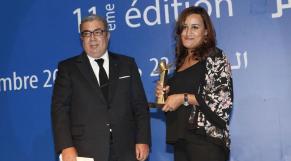 KHalil Hachimi Idrissi, directeur de le MAP, et Ilham Boumnade (L'Economiste). Grand prix presse 2013