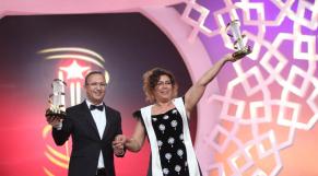 FIFM Marrakech 11 Dec 2014 Hommage khadija Alami Productrice et Zakaria Alaoui producteur