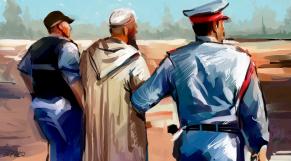 Arrestation vieil homme dessin