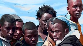 Immigration clandestine Subsahariens dessin