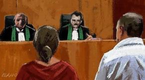 Tribunal justice couple dessin