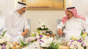 Le roi Salmane avec le cheikh Abdallah bin Ali Al Thani à Tanger