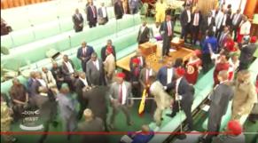 Vidéo. Ouganda. scène de bagarre générale irréaliste au parlement