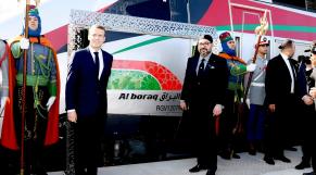 Le roi Mohammed VI et le président français Emmanuel Macron lors de l'inauguration du TGV Al Boraq, le jeudi 11 novembre à Tanger.