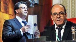 De g à d: Abdellatif Ouahbi, SG du PAM et Hakim Benchamas, président de la Chambre des conseillers