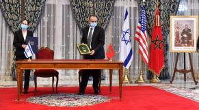 Shira Greenberg, économiste en Chef au ministère israëlien des Finances et Nabyl Lakhdar, DG de l'administration des Douanes, lors de la signature du mémorandum d'entente, mardi 22 décembre 2020.