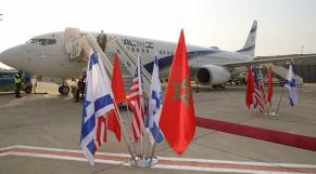 Aéroport Ben Gourion (Tel-Aviv). Premier vol direct entre Israël et le Maroc, mardi 22 décembre 2020.