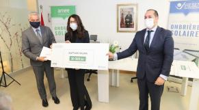 Lors de la cérémonie de remise des prix du concours de design d'ombrières solaires, mercredi 6 janvier à Rabat amee iresen