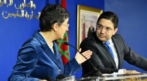 Arancha Gonzalez Laya, ministre espagnole des Affaires étrangères, et son homologue marocain, Nasser Bourita,