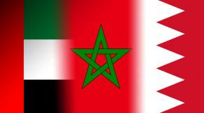 Drapeaux des Emirats, du Maroc et du Bahreïn