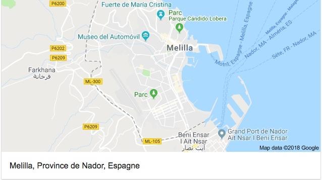 google maps rattache melilla occup e la province de nador col re en espagne. Black Bedroom Furniture Sets. Home Design Ideas
