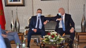 Le président de la FRMF, Fouzi Lekjaa, et le président de la FIFA, Gianni Infantino.