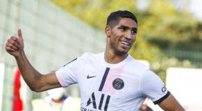 Achraf Hakimi après son premier but avec le PSG, samedi 24 juillet 2021.