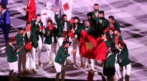 Le défilé de la délégation marocaine lors de la cérémonie d'ouverture des JO de Tokyo.