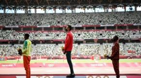 Cérémonie de remise des médailles du 3000 m steeple.