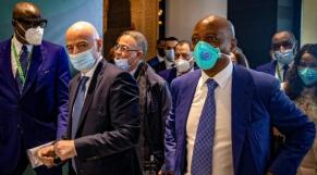 Gianni Infantino (FIFA), Fouzi Lekjaa (FRMF) et Patrice Motsepe (CAF).