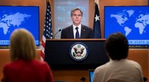 Blinken - Secrétaire d Etat américain - Washington - Conférence de presse - Pétrolier Mercer Street - Attaque