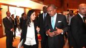 M'barka Bouaida, ministre déléguée aux Affaires Étrangères, Dwight L. Bush, ambassadeur des Etats Unis d'Amérique au Maroc