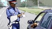 Contôle amende police dessin