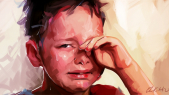 Enfant en larmes agression pédophilie dessin