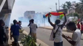 Manifestation de Guinéens près de leur ambassade à Dakar, le 21 octobre 2020.
