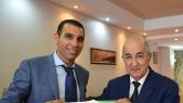 Le président algérien, Abdelmadjid Tebboune et le président de la FAF, Kheïreddine Zetchi