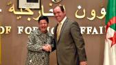 Laya, la désormais ancienne mae espagnole, en compagnie de Sabri Boukadoum, l'ancien chef de la diplomatie algérienne.