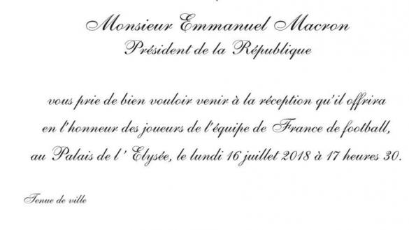 Invitation Élysée Macron Coupe du Monde