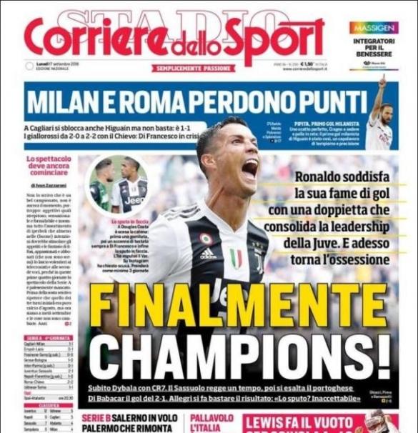 Corriere au lendemain du doublé de Cristiano