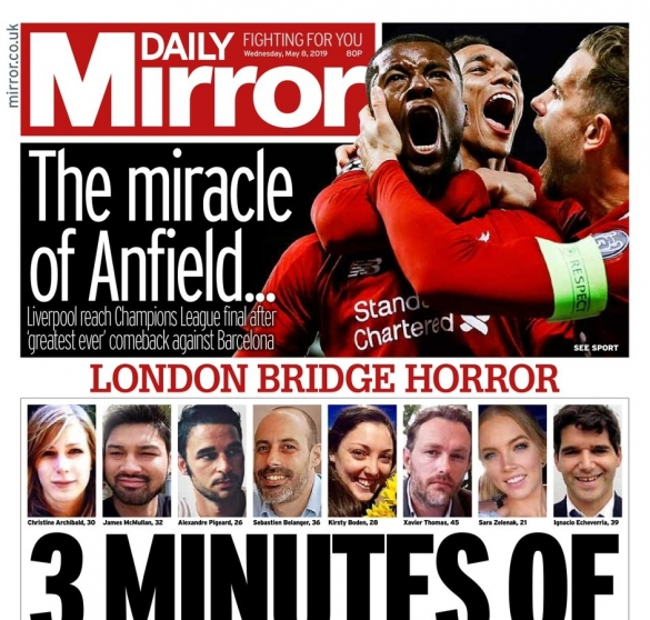 Daily Mirror Liverpool-Barça