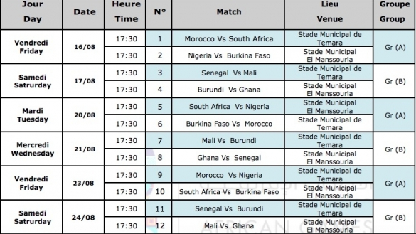 calendrier jeux africains