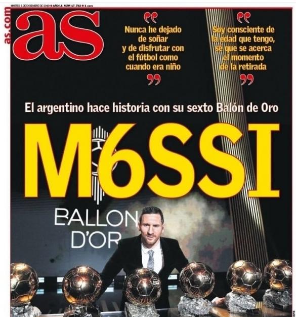 Messi 6e Ballon d'Or: AS