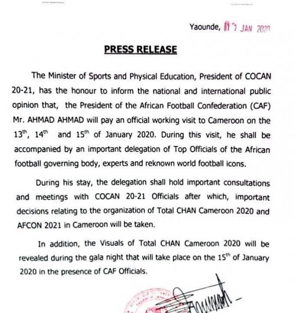 Communiqué du Cameroun sur la visite d'Ahmad Ahmad