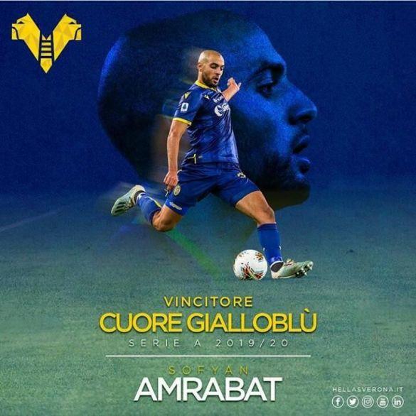 Sofyan Amrabat joueur de la saison à Vérone