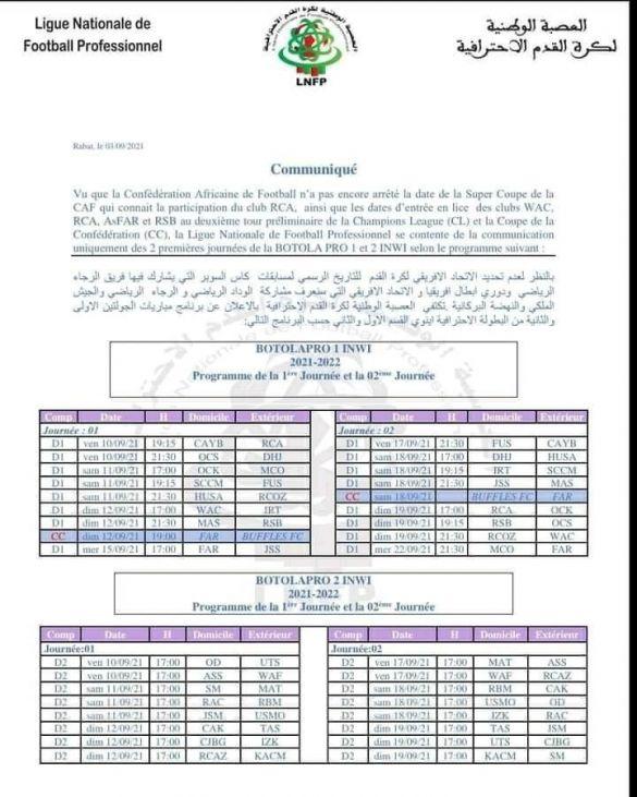 programme botola 1ère et 2e journée